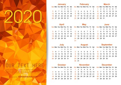 Vector Orange Polygon 2020 Calendar