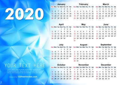 2020 Vector Abstract Blue Calendar Design