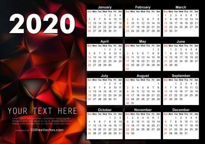 2020 Calendar Graphic