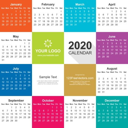 2020 Calendar Illustrator File