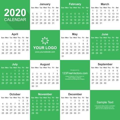 2020 Calendar Adobe Illustrator