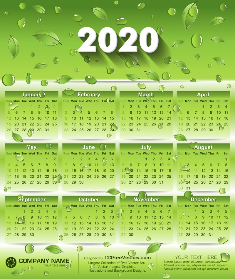 2020 Eco Green Calendar Design with Leaves and Water Drops