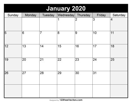 Blank January Calendar 2020