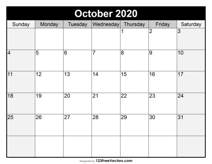 Blank October Calendar 2020