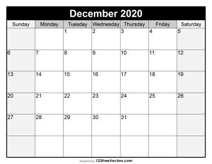 Blank December Calendar 2020