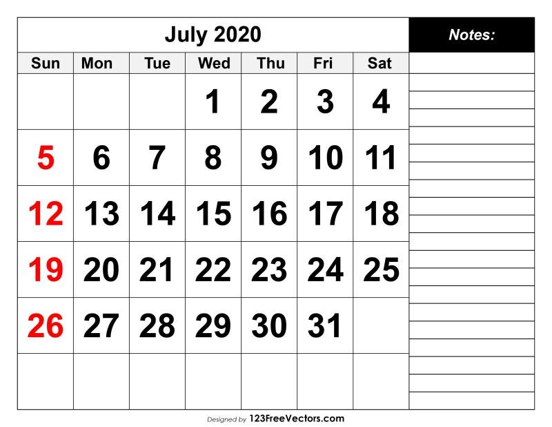 Printable July 2020 Calendar.July 2020 Printable Calendar