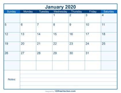 Blank Printable January Calendar 2020