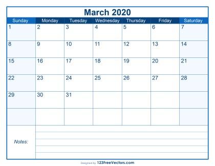 Blank Printable March Calendar 2020