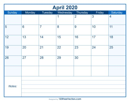 Blank Printable April Calendar 2020