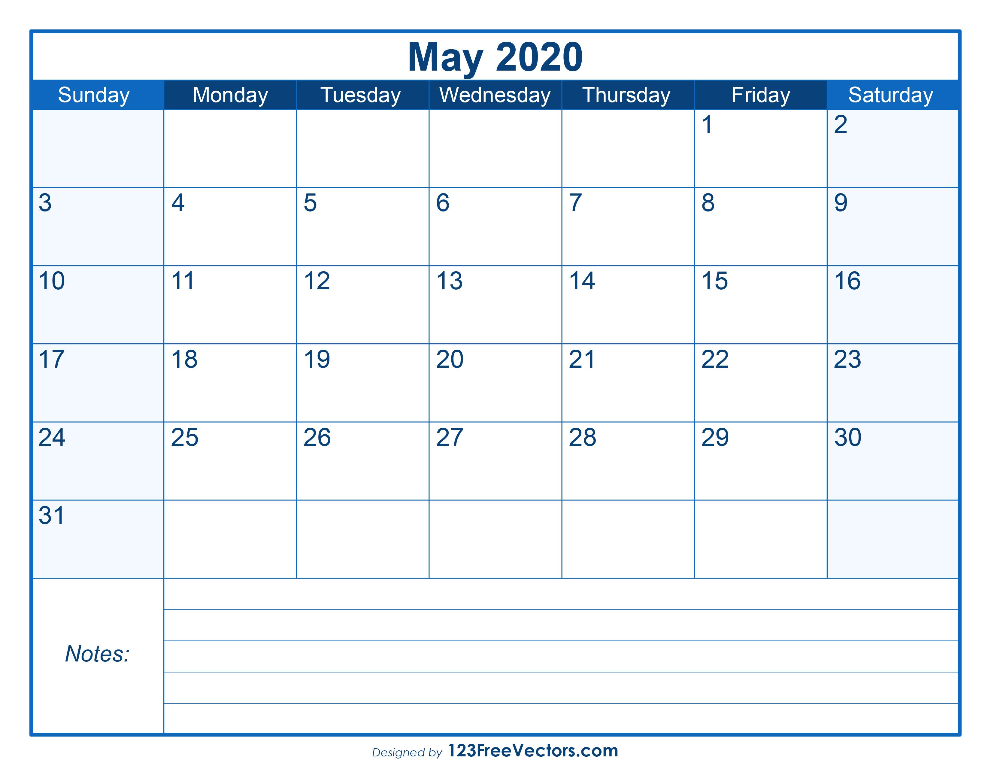 Blank Printable May Calendar