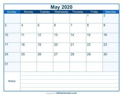 Blank Printable May Calendar 2020