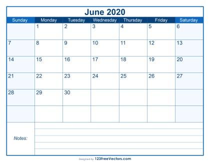 Blank Printable June Calendar 2020