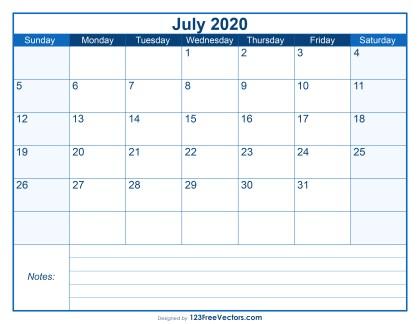 Blank Printable July Calendar 2020