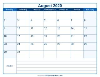 Blank Printable August Calendar 2020