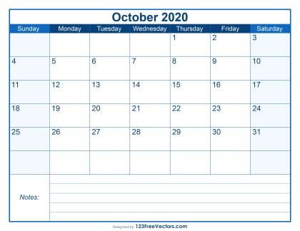 Blank Printable October Calendar 2020