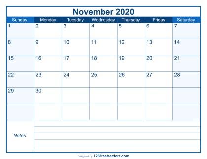Blank Printable November Calendar 2020