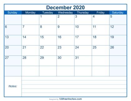Blank Printable December Calendar 2020