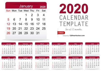 2020 Monthly Calendar