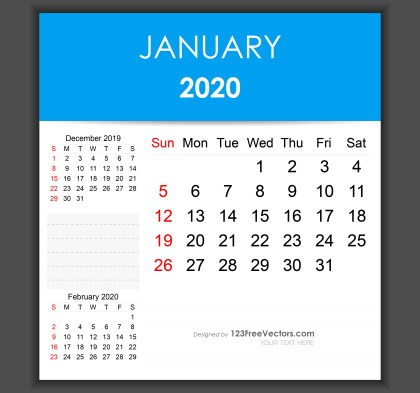 Editable January 2020 Calendar Template