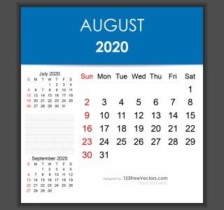 Editable August 2020 Calendar Template