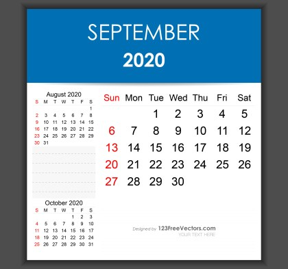 Editable September 2020 Calendar Template