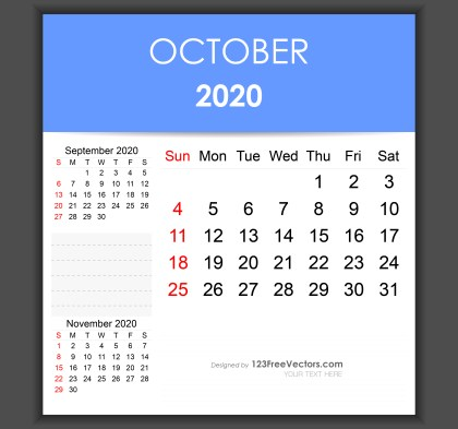 Editable October 2020 Calendar Template