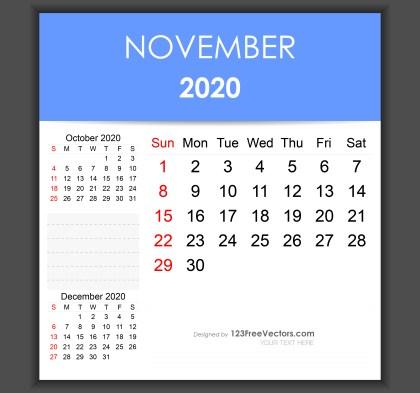 Editable November 2020 Calendar Template