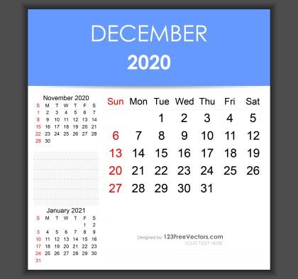 Editable December 2020 Calendar Template