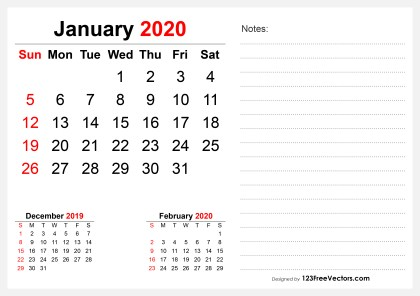 2020 January Desk Calendar Design
