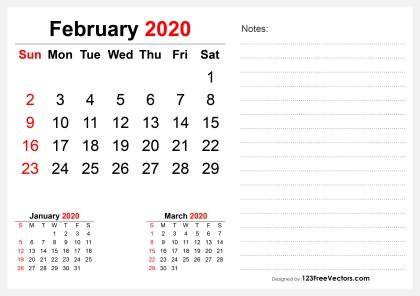 2020 February Desk Calendar Design