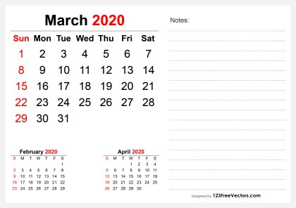 2020 March Desk Calendar Design