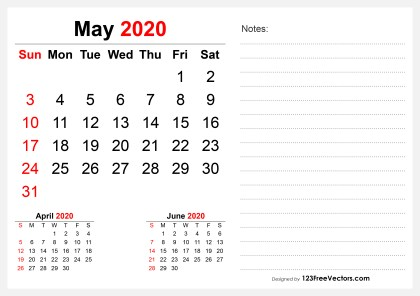 2020 May Desk Calendar Design