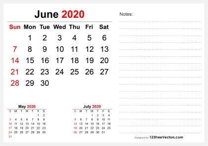 2020 June Desk Calendar Design