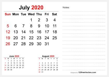 2020 July Desk Calendar Design