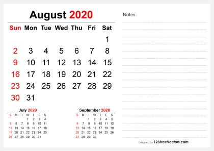 2020 August Desk Calendar Design