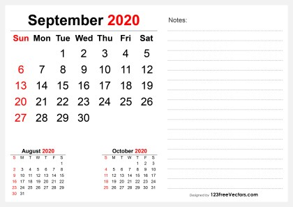2020 September Desk Calendar Design