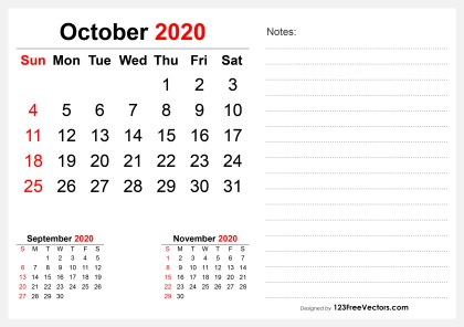 2020 October Desk Calendar Design