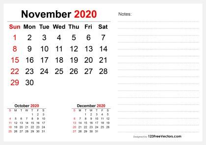 2020 November Desk Calendar Design