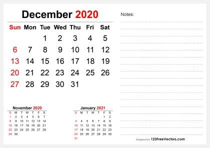 2020 December Desk Calendar Design