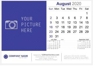 August 2020 Desk Calendar