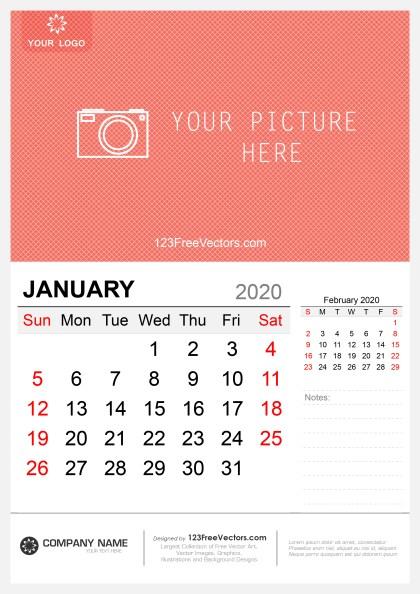 Wall Calendar January 2020