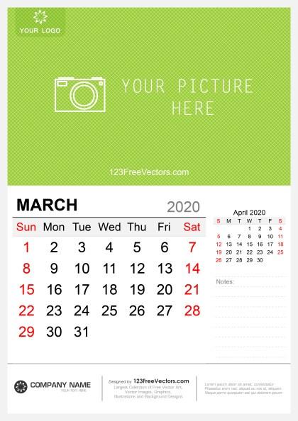 Wall Calendar March 2020