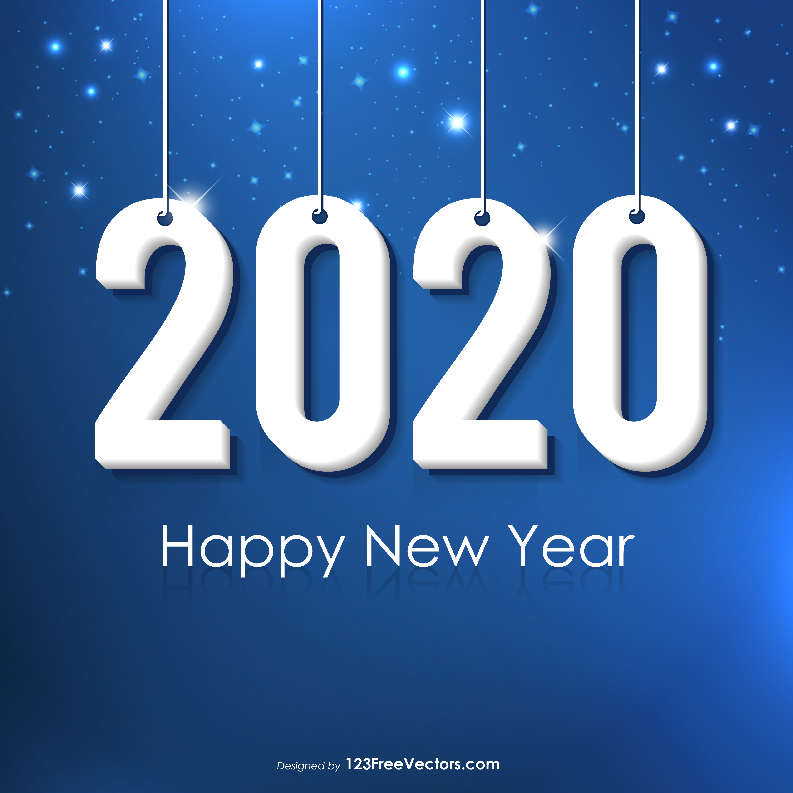 Happy New Year 2020 Colorful Balloons Background