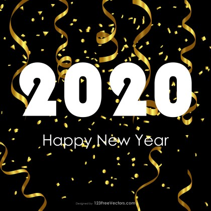 Happy New Year 2020 Gold Streamer and Confetti Background