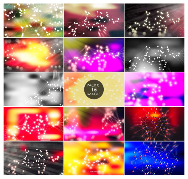 15 Connected Lines and Dots Background Pack 01
