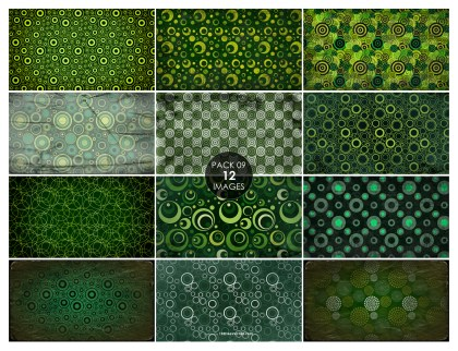 12 Green Grunge Circle Pattern Background Pack 09