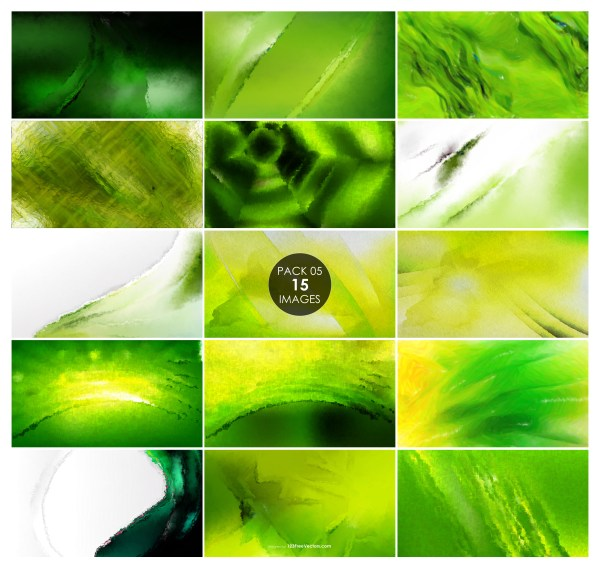 15 Green Watercolor Background Pack 05