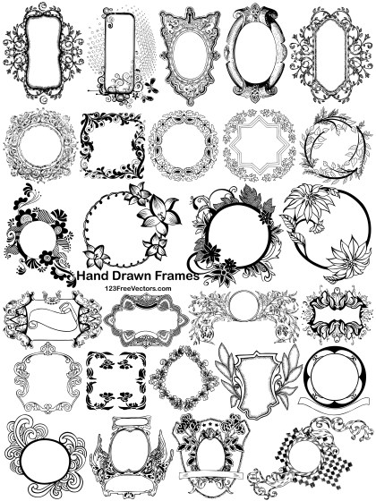 27 Hand Drawn Frames Vector pack