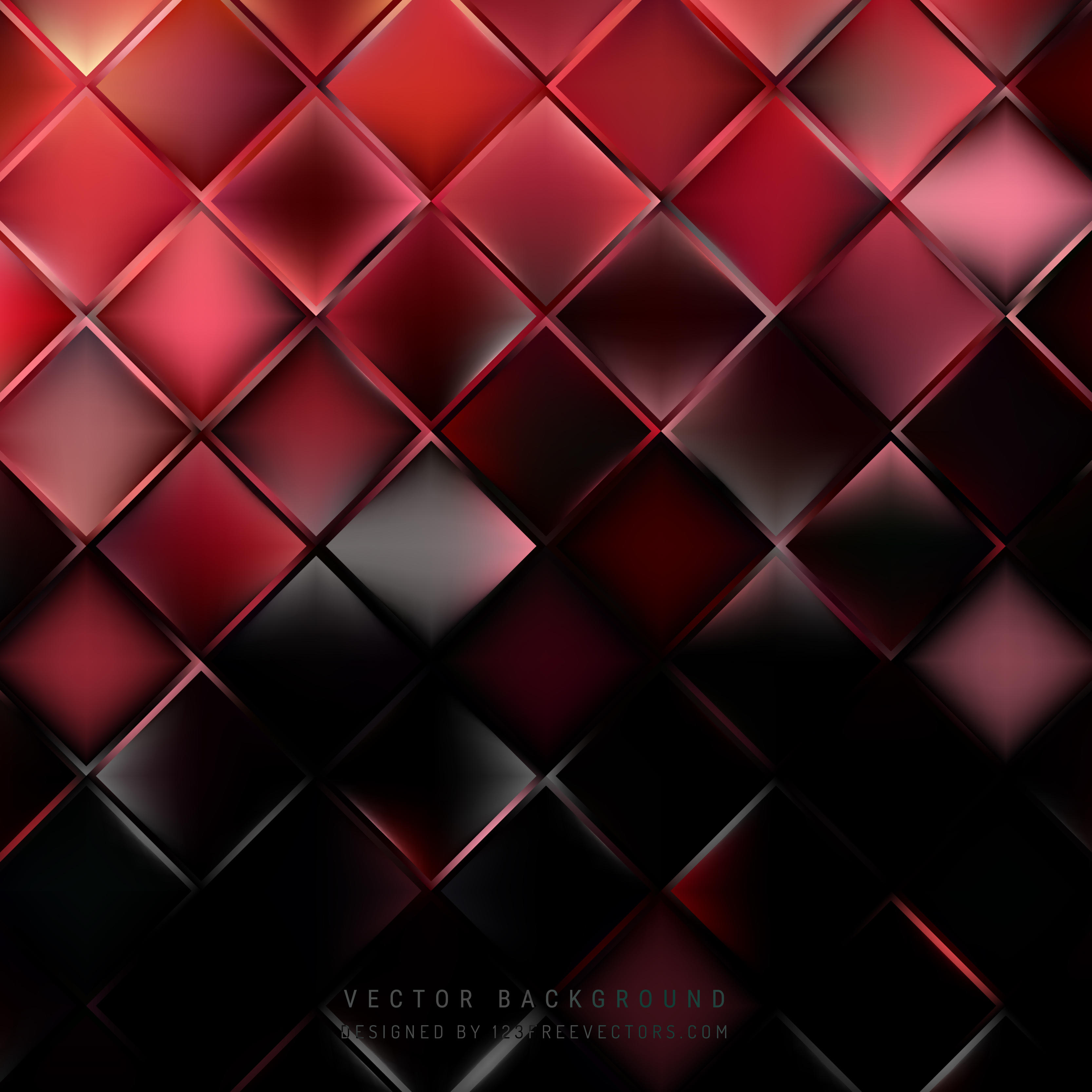 Black And Red >> Abstract Red Black Square Background Template