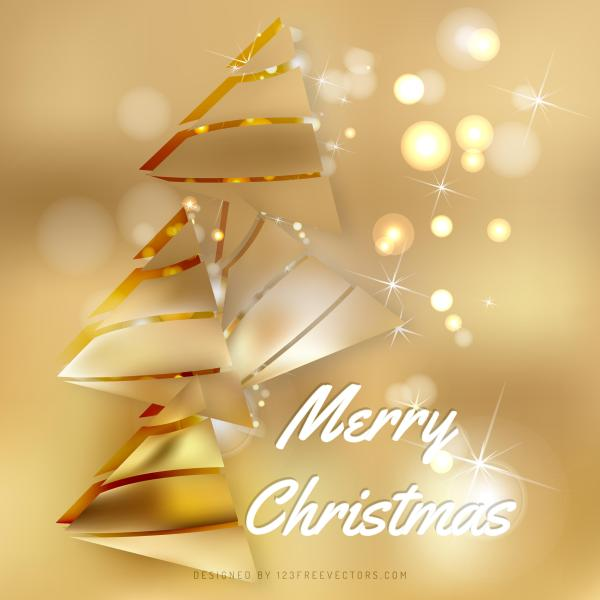 Gold Christmas Tree Background Template
